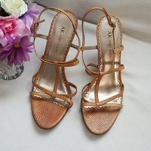 AK Anne Klein Sneakskin Sandals Heels Size 7 1/2 M